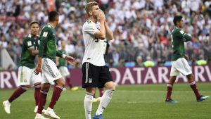 Timo Werner, Seorang striker dari Tim Jerman, tampak sangat kecewa karena dikalahkan oleh Tim Meksiko pada laga piala dunia 2018 di Group F